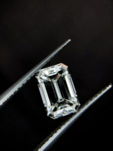 emerald cut with black background